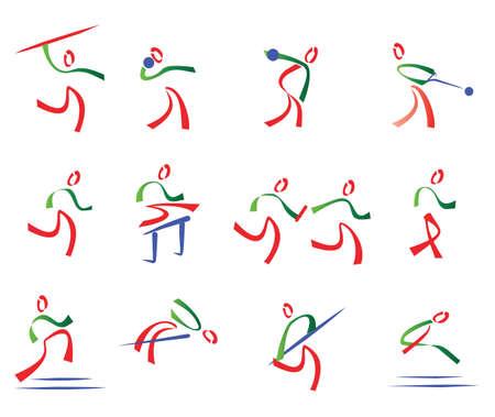 lanzamiento de jabalina: todos los deportes de conjunto de iconos del deporte