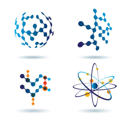 テクノロジー: 化学およびソーシャル ネットワークの概念の抽象的なアイコンのセット