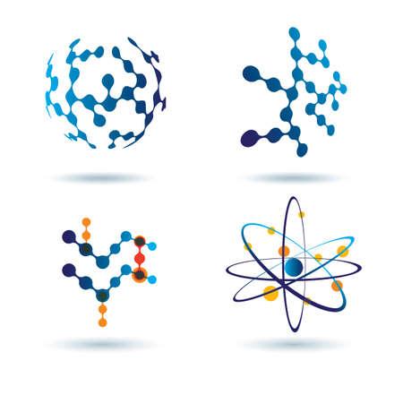 atomo: conjunto de iconos abstractos, químicos y el concepto de las redes sociales Vectores