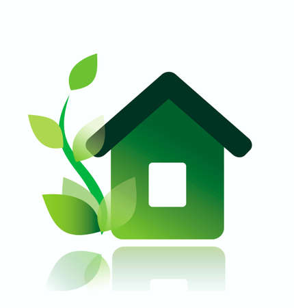 house warming: eco home icon, isolated vector illustration
