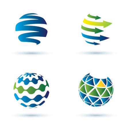 globe arrow: Abstract globe vector icons, business concept Illustration