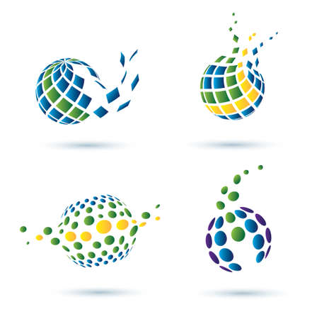 circle shape: Abstract globe set of vector icons, business concept