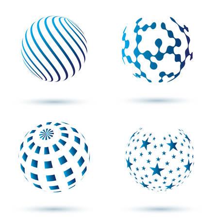 globo terraqueo: conjunto de iconos vectoriales abstractos globo