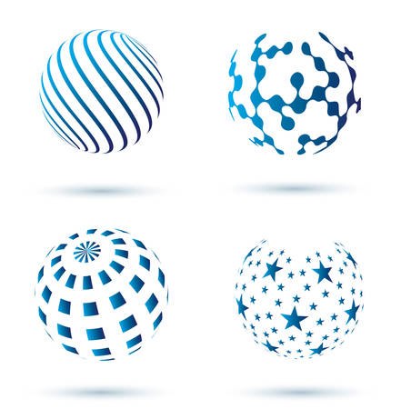 set of Abstract globe vector icons  Illustration