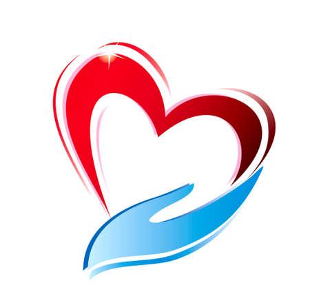Hand hält ein Herz-Symbol, isoliert Vektor-Symbol Standard-Bild - 22336309