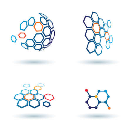 blue network: hexagonal abstract icons, business and communication concepts