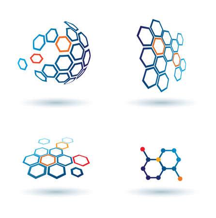 zeshoekige abstracte iconen, business en communicatie concepten Stock Illustratie
