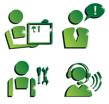 callcenter: market service icons set, isolated vector symbols Illustration