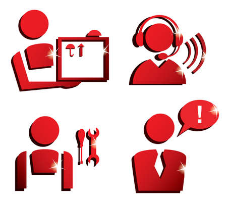 helpdesk: market service icons set, isolated vector symbols Illustration