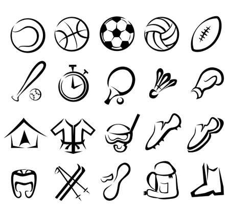 sports equipment set, isolated vector icons  Ilustração