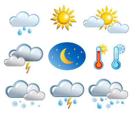 luna caricatura: conjunto de iconos de clima amable Vectores