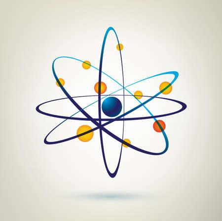 atom structure vector icon, 3d symbol