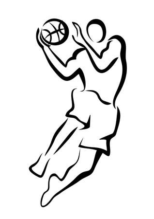 basketball player in jump, isolated vector sketch Vector