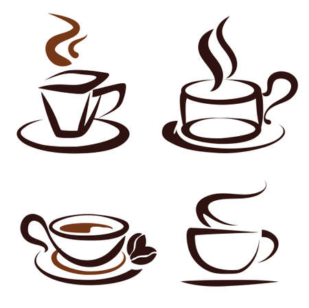 cold coffee: vector set of coffee cups icons, stylized sketch symbols