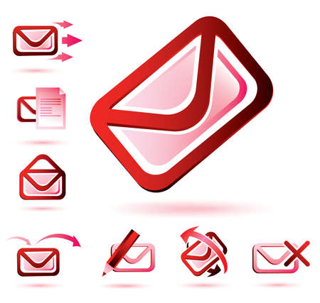 email icons set, isolated glossy vector symbols Vector