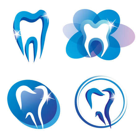 set of tooth stylized icons, isolated vector symbols Illustration