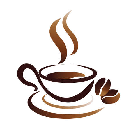 coffee: sketch of coffee cup, stylized vector icon Illustration
