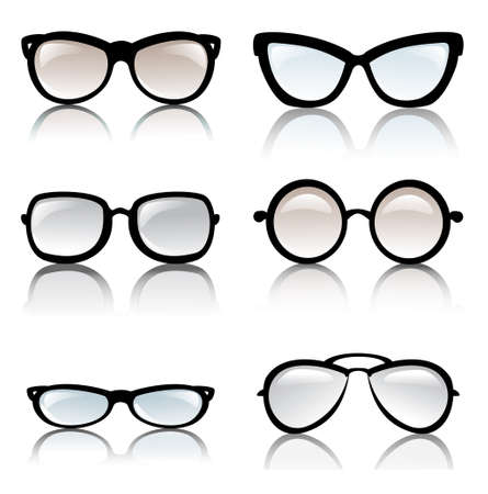 spec: glasses frames  vector set, isolated glossy icons