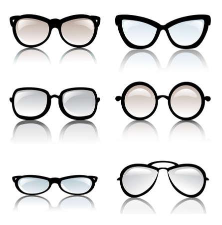 wayfarer: glasses frames  vector set, isolated glossy icons
