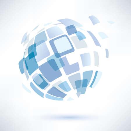 抽象世界シンボル、分離ベクトルのアイコン、インターネット、社会的ネットワークの概念