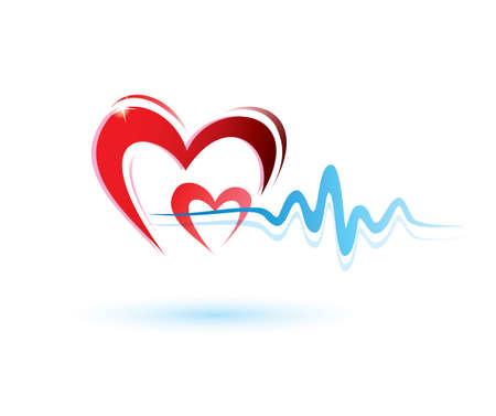 excitacion: corazones con ecg icono, concepto de la medicina Vectores
