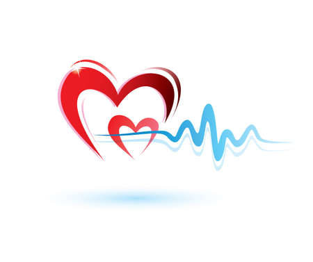 excitation: hearts with ecg icon, medicine concept