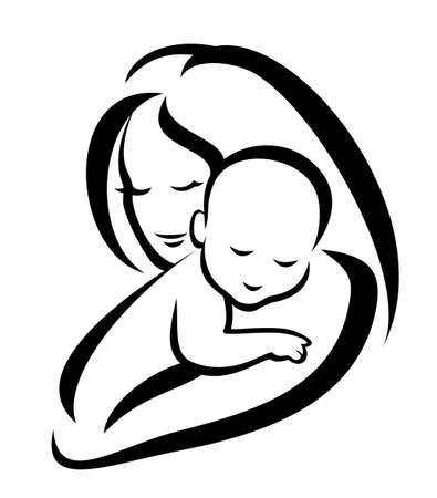 madre y bebe: la madre y el s�mbolo de beb� Vectores