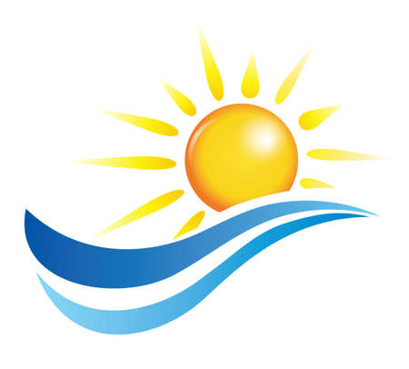 waves vector: sun and water waves, vector design elements Illustration