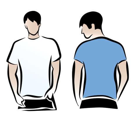 undershirt: T-shirt men back and front. Men body silhouette.