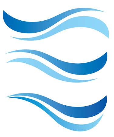 水の波のデザイン要素ベクトル セット  イラスト・ベクター素材