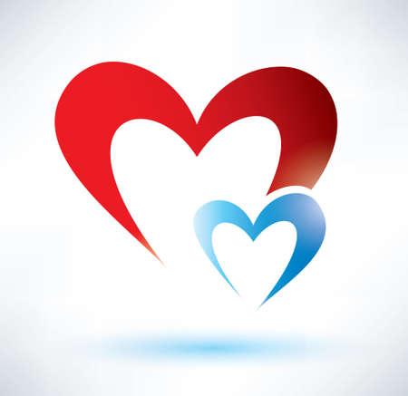 two hearts vector symbol, love or medicine concept Vector