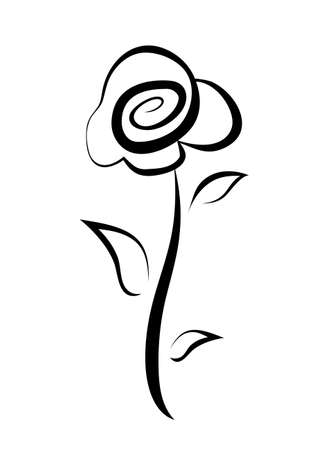 hand drawn rose flower symbol, isolated vector sketch Illustration