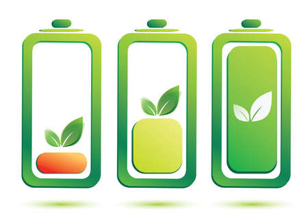 mono color:  eco battery charge level, vector icons set Illustration