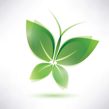 illustraiton: green butterfly eco concept, isolated vector illustraiton
