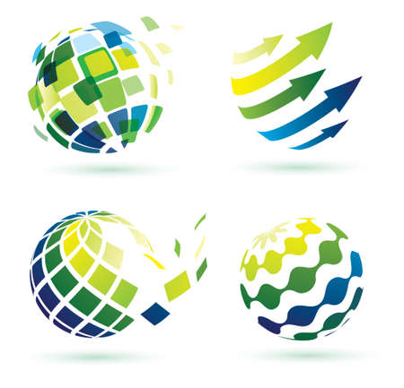 social networks: abstract globe icons, business and social networks concept Illustration