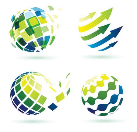 abstracte wereld iconen, zakelijke en sociale netwerken begrip