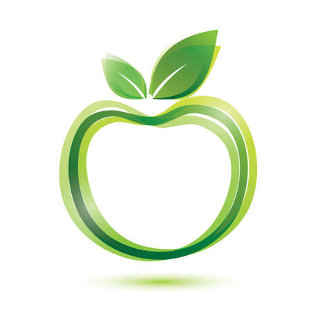 manzana verde: icono de manzana, la ecología y el concepto de alimentos bio