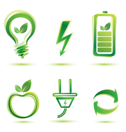 energy icons: green energy vector icons, eco concept