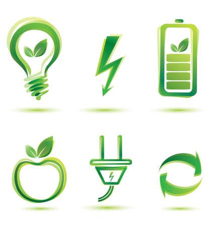 button batteries: green energy vector icons, eco concept