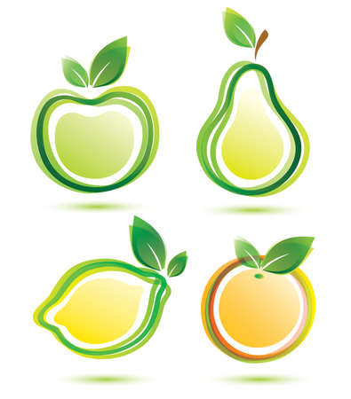 green fruits vector icons set, bio food concept Vector