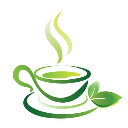 steam of a leaf: vector sketch of green tea cup, icon Illustration