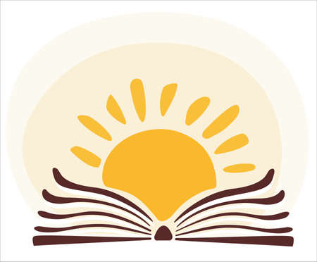 knowledge concept: book and sun, knowledge concept cartoon illustration