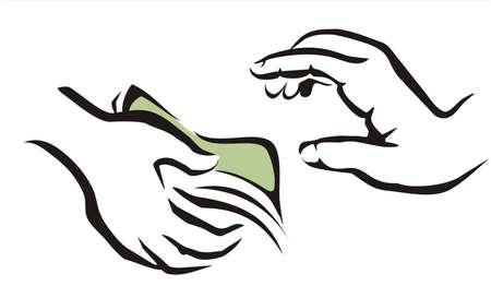 remuneraci�n: dando un s�mbolo de dinero de una mano a onother Vectores