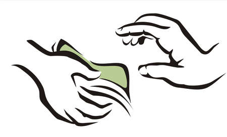 bribery: giving a money symbol from one hand to onother