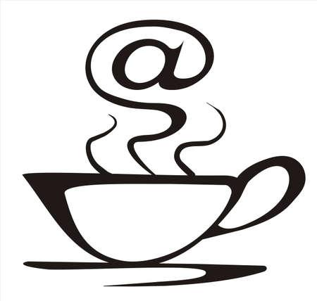 cafe internet: concepto de café internet en líneas negras simples