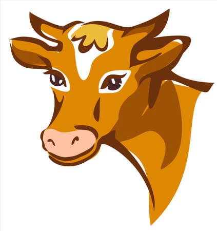 cow head: bright brown smiling cow portrait isolated illustration