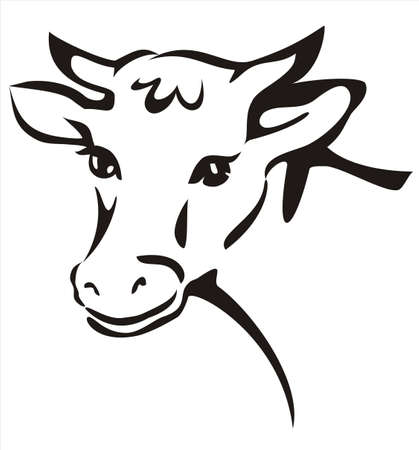 smiling cow portrait sketch in black lines Vector