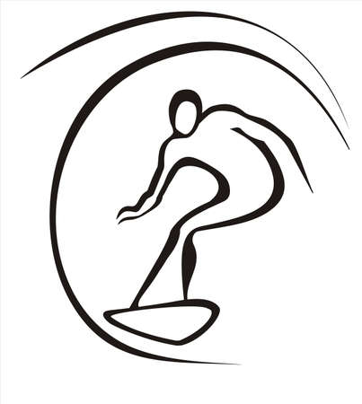 surfer symbol in simple black lines