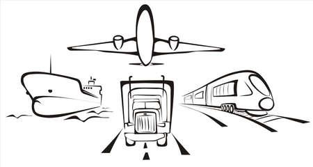 교통 symobol 도로, 항공, 철도 및 바다의 모든 종류의 일러스트