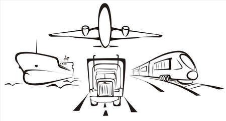 freight traffic: transportation symobol  all kinds  by road, air, rail and sea Illustration
